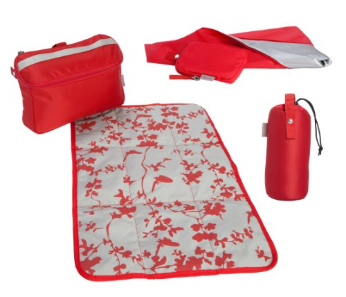 Babymule Essentials Kit in Red/Grey. Baby Changing Kit