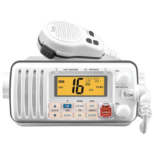 Icom M412 12 Fixed-Mount 25W VHF Marine Radio with Class D DSC (White)