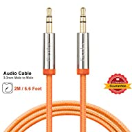 3.5mm Audio Cable Male to Male, 6.6ft Long Nylon Braided Stereo Audio Cable, F-color™ Premium…