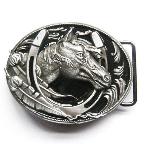 Black Western Horse Horseshoe Belt Buckle