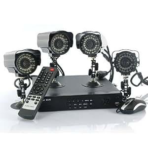SHOPINNOV Kit de surveillance 4 cameras IP extérieures Visualisation sur mobile