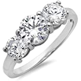 Sterling Silver Three Stone Simulated Diamond Ring (4ct tw Sizes 5-8)