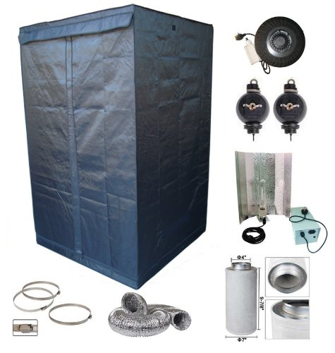 Quality Portable Grow Tent Green Room Bud Room 120cm x 120cm x 200cm with 400W Kits Ballast Sodium Lamp Reflector Fan Ducting Clamps Roller for Gardening Hydroponic