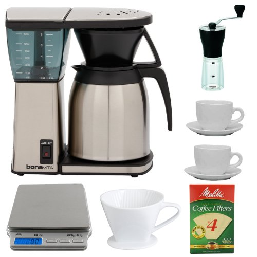 Bonavita BV1800TH 8-Cup Coffee Maker w/ Thermal Carafe Pour Over Coffee Bundle + Hario Mini Mill Slim Coffee Grinder + American Weigh SC-2KG Digital Pocket Scale + Porcelain Coffee Filter Cone Size 4 + Melitta Natural Brown Basket Coffee Filter, #4 - 100 Count + Set of Two 13 Oz White Tiara Cappuccino Cups
