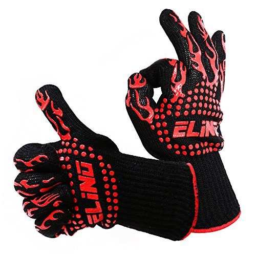 Elino Heat Resistant Cooking Gloves, 100% Cotton Inner, Perfect For BBQ, Grilling, Hot Ovens, Protect Your Hands From Extreme Heat, Touch Coals, Hot Meat Or Hot Trays Without Fear, BONUS Hook Grip (Fireplace Fireproof Gloves compare prices)