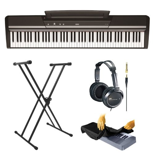 Korg Sp170S 88-Key Digital Piano, Black With Lok-Tight Squeeze X-Style Keyboard Stand, Stereo Headphones And 88 Key Piano Dust Cover