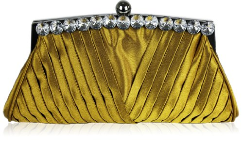 Ladies Gold Satin Ruched Evening Clutch Wedding Bag