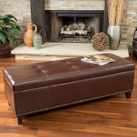 Christopher Knight Home Aberdeen Bonded Leather Storage Ottoman with Tray