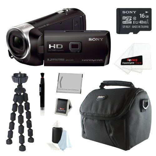 Sony HDR-PJ275/B HDRPJ275 PJ275 8GB Full HD 60p Camcorder w/ built-in Projector + Sony MicroSD 16GB + Replacement NP-BN1 + Accessory Kit