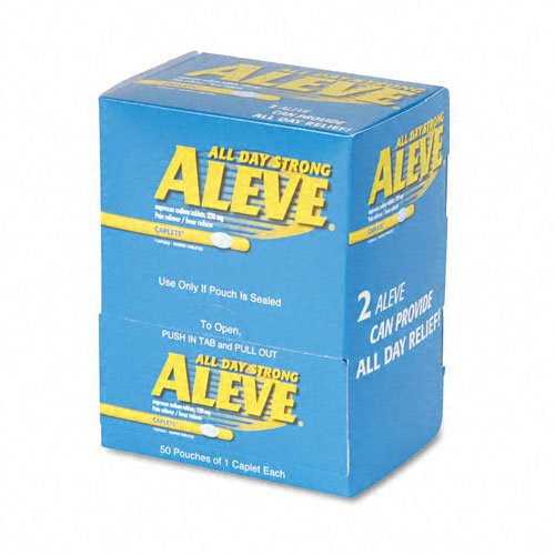 Aleve Products - Aleve - Pain Reliever Tablets, 1 per Pack, 50 Packs/Box - Sold As 1 Box - Packaged for individual use to replenish first aid stations and kits.