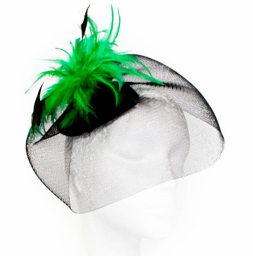 Womens Large Black Net Fascinator with Bright Coloured Feathers on Clips in Green