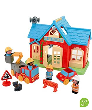 This village fire station comes with fire engine, fire chief's car, 5 figures, road sign and station cat  With fun sounds  A great addition to your HappyLand collection  Requires 2 x AA batteries