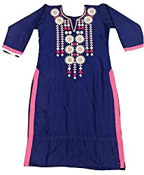 Clickedia Girl's & Women's Semi Stitched Cotton Navy Blue Pink Embroidered Semi-Stitched Kurti