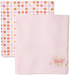 Spasilk Kid's Thermal Receiving Blanket 2-Pack, Pink Butterfly, One Size