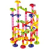 Marble Run Coaster 105 Piece Set With 75 Building Blocks Plus 30 Race Marbles. Learning Railway Construction Diy...