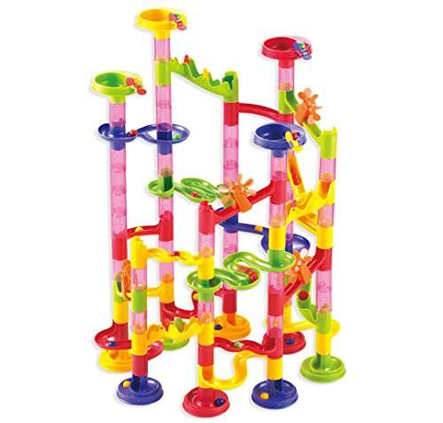 Marble-Run-Coaster-105-Piece-Set-with-75-Building-Blocks30-Plastic-Race-Marbles-Learning-Railway-Construction-TEVELO-DIY-Constructing-Maze-Toy-for-All-Family-Classic-Endless-Track-Design-Fun-Kit