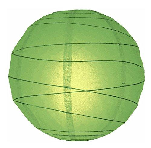 "WeGlow International 12"" Grass Green Free-Style Ribbed Paper Lantern (Set of 2)"