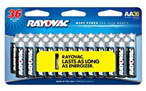 Rayovac Alkaline Peggable Large Card AA Batteries, 36-Pack