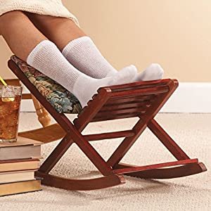Amazon Com Wood And Tapestry Foldaway Rocking Footrest