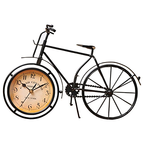 NEOTEND Handmade Vintage Bicycle Clock Bike Mute Black Table Clock Black Color 0