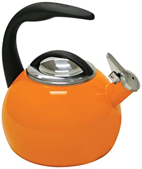 Chantal 40th Anniversary 2-Quart Enamel on Steel Teakettle, Orange.