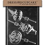 Dress My Cupcake DMCH032 Chocolate Candy Mold Assorted Pumpkin Lollipops Halloween