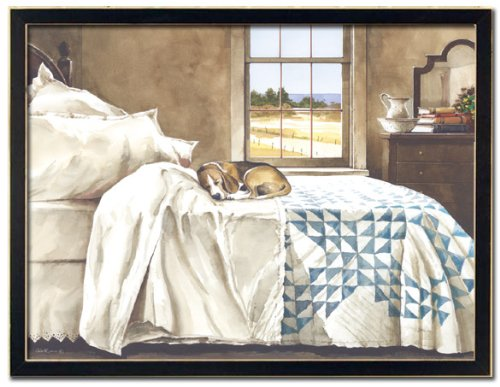 Dog Beds For Large Dogs Home Alone Dog On Bed In Master Bedroom Beagle By John Rossini 24x18