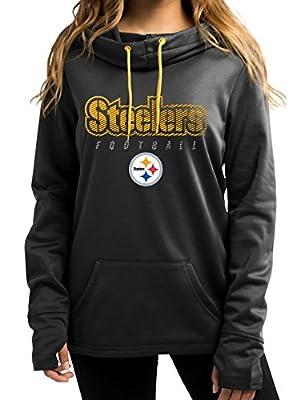 "Pittsburgh Steelers Women's Majestic NFL ""Speed Fly"" Cowl Neck Hooded Sweatshirt"