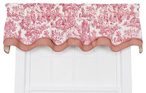 Victoria Park Toile Bradford Valence Window Curtain, Red by Ellis Curtain (Toile Kitchen Curtains compare prices)