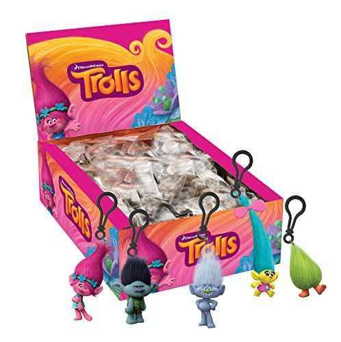 Joy Toy 67687-24 - Trolls Clip On's/Portachiavi in 3D - 24 Pezzi Assortiti Nell'Espositore
