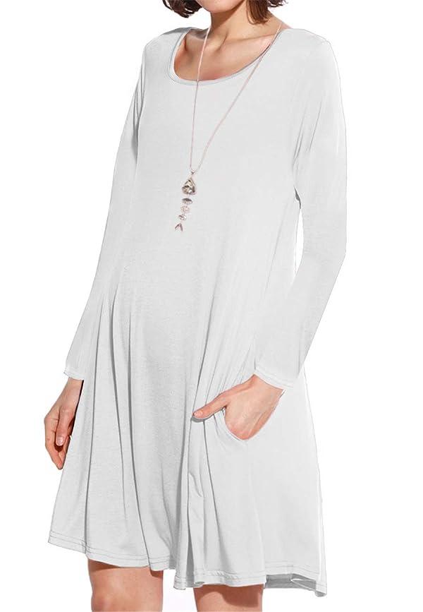 6fbc932de394e JollieLovin Women's Pockets Long Sleeve Casual Swing Loose Dress (White, S)