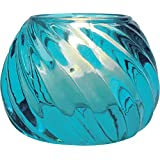 Luna Bazaar Candle Holder (2.25-Inch, Swirl Design, Turquoise Blue Vintage Glass) - For Home Decor and Wedding Decorations - For Use with Tea Light Candles