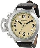 Breda Men's 8170-black/cream Joseph Oversized Unique Case Leather Watch