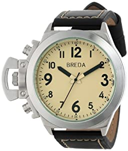 Breda Men's 8170-Black/Cream Joseph Oversized Unique Case Faux Leather Band Watch