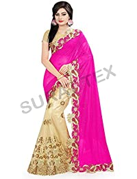 Surat Tex Pink & Cream Color Lycra & Net Embroidered Party Wear Saree With Blouse Piece-K413SEST-16