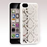 GreatShield TACT Series Design Pattern Rubber Coating Ultra Slim Fit Hard Case Cover for Apple iPhone 5C (Damask - White)