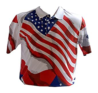 Divots Men's Golf Shirt Patriotic American Flag Design at Amazon Men