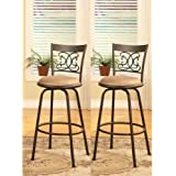 "Legacy Decor Scroll Design Counter Height Adjustable Swivel Bar Stools 24"" to 29"", Set of 2"