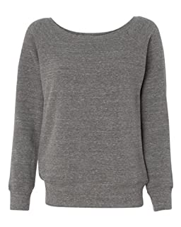 Bella Ladies Long Sleeve Wideneck Fleece - Grey Heather 7501 XL