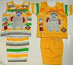 Bubbles Fancy Cartoon Print Dress Set of 4 Pc (3-6 months, Yellow)