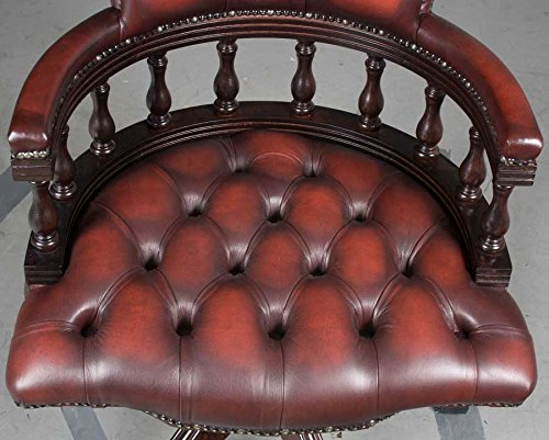 Antique Style Leather Office Chair 4