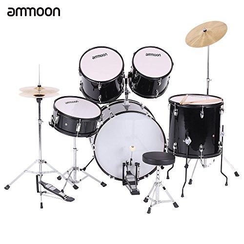 ammoon-5-teilig-komplett-kit-fur-erwachsene-drum-set-drums-percussion-musikinstrument-mit-becken-dru