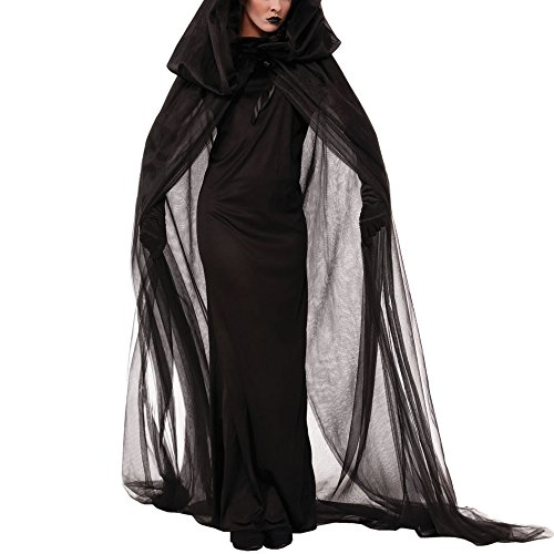 Halloween Cosplay Adult Women Horror Black Ghost Bride Dress Zombie Dead Costume