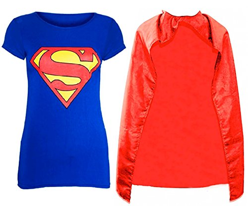 New Ladies Short Sleeves Batman and Superman T-shirt and Cape - S to L