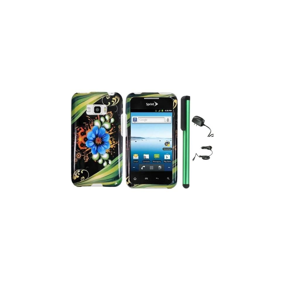 """Blue Aqua Flower Green Stripes On Black Design Protector Hard Cover Case for LG Optimus Elite LS696 (Sprint, Virgin Mobile) + Luxmo Brand Travel (Wall) Charger & Car Charger + Combination 1 of New Metal Stylus Touch Screen Pen (4"""" Height, Random C"""