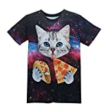 Sopety Funny Boys Men 3D Print Summer Short Sleeve Kitty Sky T-Shirts Top Tee Blouse (S)