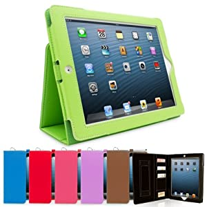 Snugg™ iPad 3 & 4 Case - Executive Smart Cover With Card Slots & Lifetime Guarantee (Green Leather) for Apple iPad 3 & 4