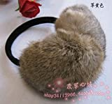 Winter outdoor sport genuine rabbit fur earmuffs warmer earcap (grass brown)
