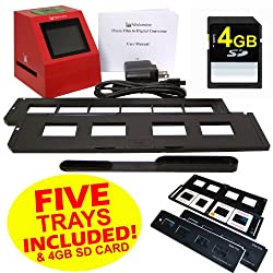 Wolverine F2D8 8 MP 35mm Slides and Negatives to Digital Image Converter (Includes 4GB SD Card & 5 Total Trays: 4 Silde Trays & 1 Negative Film Tray) 110V-220V