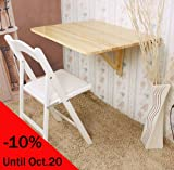 Wall-mounted Drop-leaf Table, Folding Dining Table Desk, Solid Wood Table, 75x60cm, Color: Natural, FWT01-N